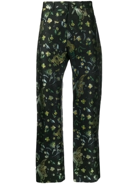 Floral dragon print pants BLACK BIRD