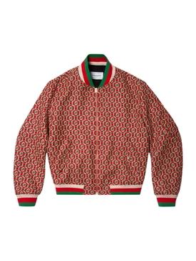 Wool Monogram Bomber Jacket RED
