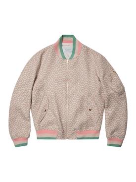 Wool Monogram Bomber Jacket PINK