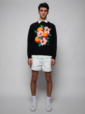 Kapalia Oranges Intarsia Knit Sweater BLACK
