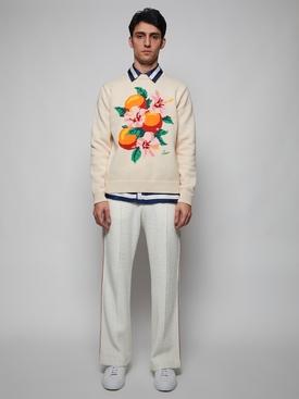 Kapalia Oranges Intarsia Knit Sweater CREAM