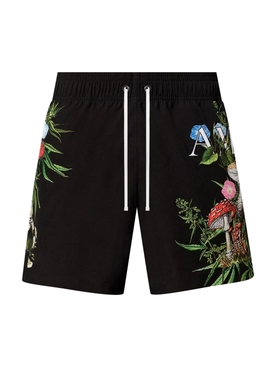 Psychedelic swimming trunk, black