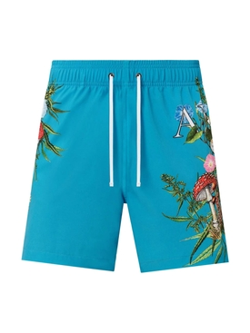 Psychedelic swimming trunk, cyan