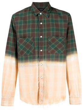 BLEACHED FLANNEL SHIRT MILITARY GREEN