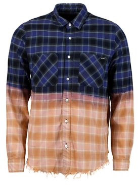 ombre bleached flannel, Navy