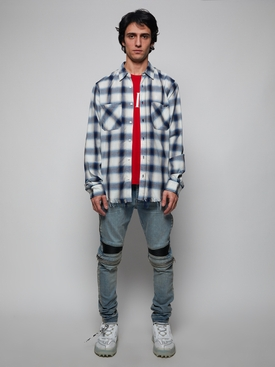 Navy and White Check Logo Flannel