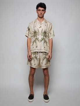 Botanical leaves short sleeve shirt, natural beige