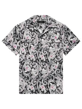 Paisley PJ Short-Sleeve Shirt Black and White