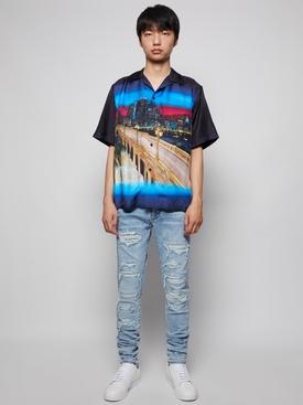 Cityscape Bowling Shirt Black