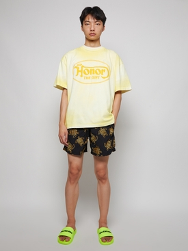 MAESTRO EMBROIDERED TURTLE PRINT SWIM TRUNKS BLACK AND YELLOW