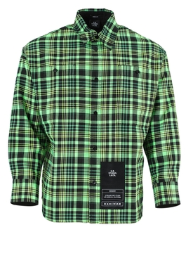 Green and Black Check Button-Down Shirt