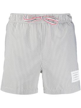 seersucker-print swim shorts