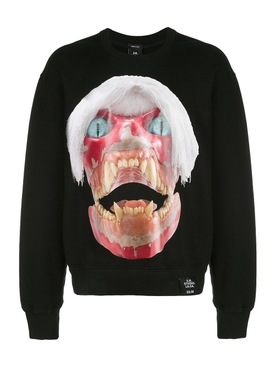 White-Haired Skull Print Sweatshirt Black