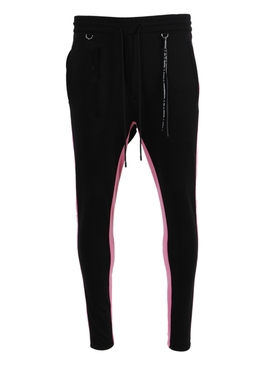 Black and Pink Logo Jogger Pants