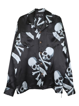 Black and Grey Skull Print Silk Shirt