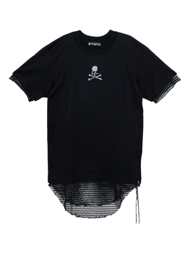 Black Mesh Logo Double Layer T-shirt