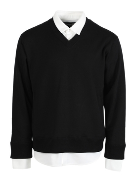 BLACK AND WHITE FAUX SHIRT JUMPER