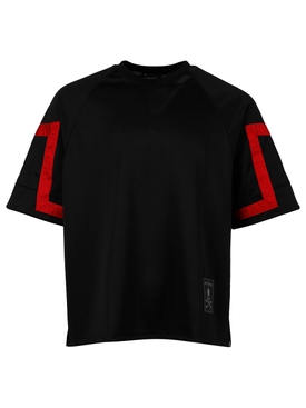 JACQUARD TAPE CREWNECK TEE, BLACK AND RED