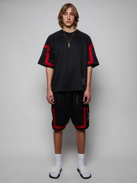 JACQUARD TAPE BASKET BALL SHORTS, BLACK AND RED