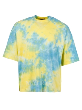 TIE-DYE CREWNECK COTTON T-SHIRT, YELLOW AND SKY BLUE