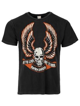 Harley Davidson Skull t-shirt Coal Black