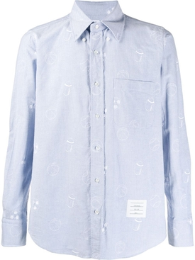 Sports Ball Button-Down Cotton Shirt LIGHT BLUE