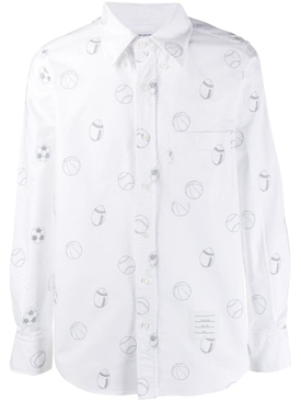 Sports Ball Button-Down Shirt WHITE