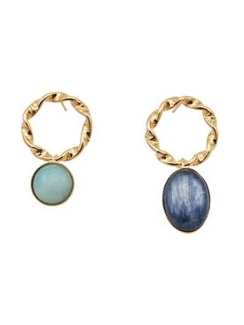 Mini Sonia blue amazonite and kyanite earrings