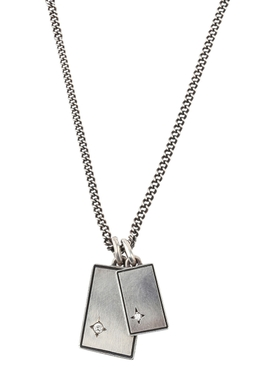 Silver and white diamond Gudo Square Necklace