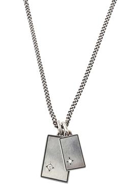 Silver and white diamond Gudo Square Necklace