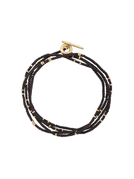 Black and Gold-Tone Wrap Around Bracelet