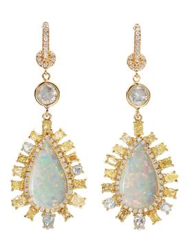 White Opal Drop Earrings