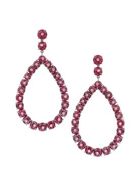 Ruby red diamond hoop earrings