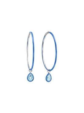 Blue Large Enamel Hoop Earrings