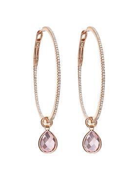 Pink topaz and diamond flip hoop earrings