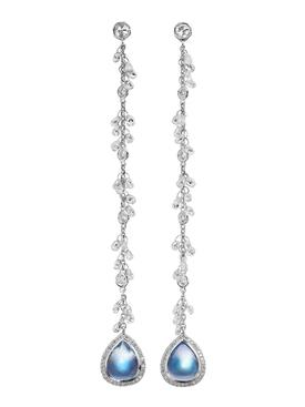 Clair de lune moonstone and diamond chain earrings