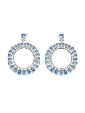 Clair de lune moonstone frontal hoop earrings