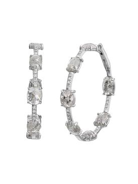 Clair de lune mix shape diamond hoop earrings