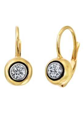 Round Brilliant Cut Diamond Single Drop Earrings
