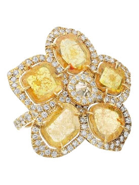 Yellow slice diamond flower ring