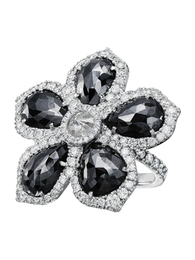 BLACK DIAMOND FLOWER RING