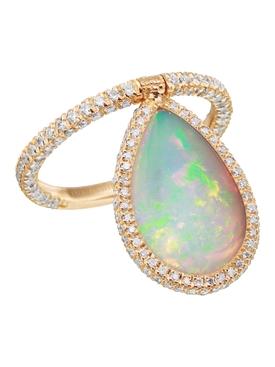 Medium 18k rose gold & opal flip ring