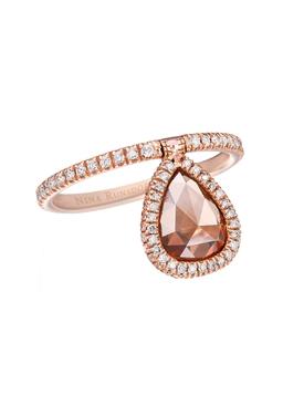 Rose-cut brown diamond flip ring