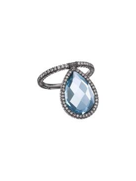 Large Light Blue Topaz Flip Ring
