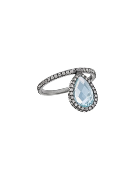 Medium Light Blue Topaz Flip Ring