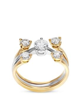 18K Yellow and White Gold Diamonds Dots Ring