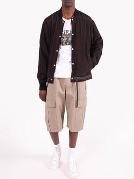 Brown Striped Bomber Jacket