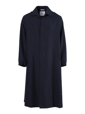 Navy and Ivory Belted Alka Coat