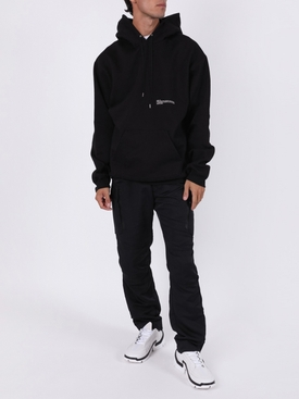 Classic black cotton logo hoodie