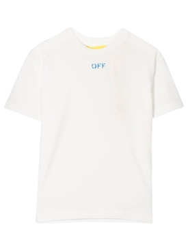 KID'S OFF STAMP TEE WHITE AND BLUE
